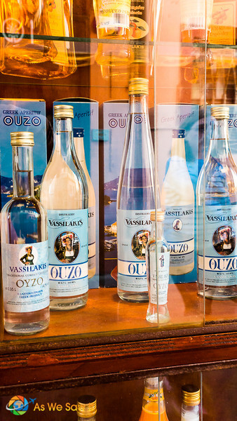 Ouzo for sale in Corfu town