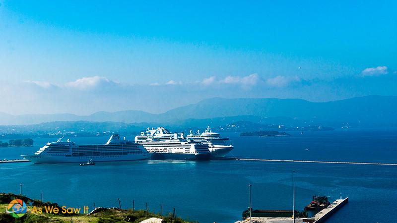 cruise ships docked in Corfu Greece