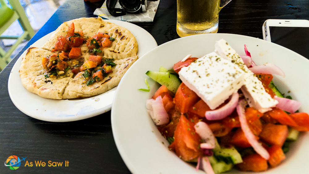 True Greek salad with a side of local flatbread