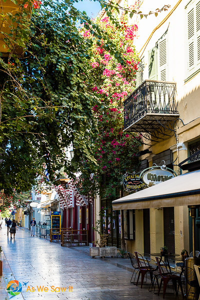 Street lined with restaurants in Nafplion, Greece