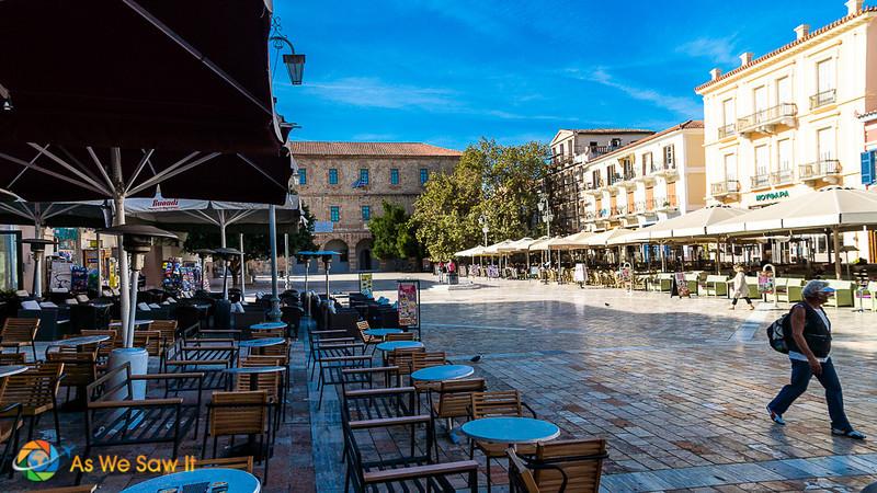 Nafplion's main plaza, Syntagma Square.