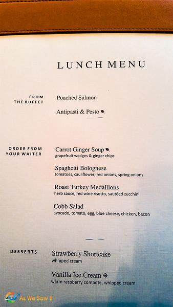 Day 1 Lunch menu on Viking Bragi