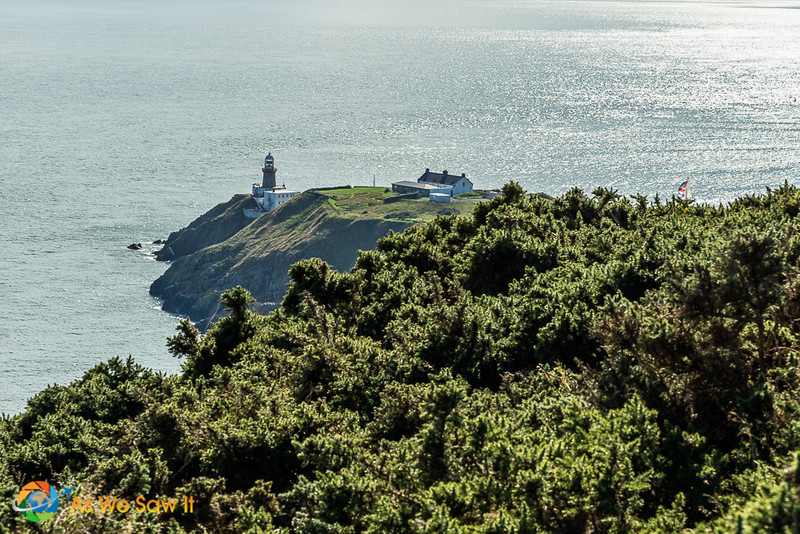 View of lighthouse and Howth castle from atop Howth lookout