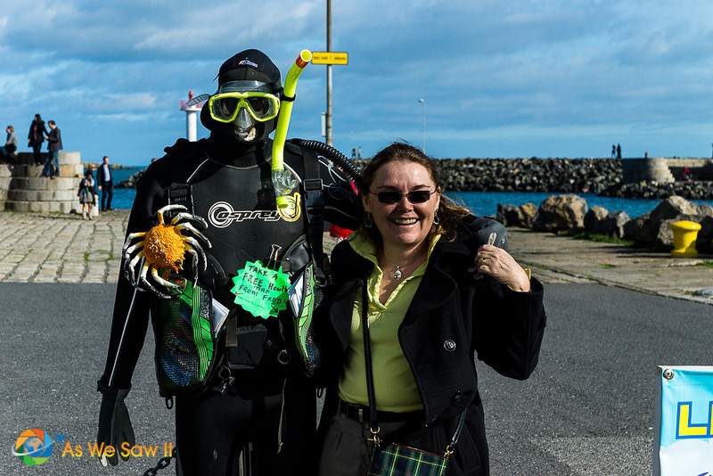 Linda with mannequin dressed in diving equipment