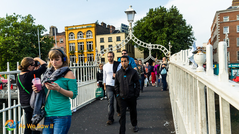crossing the pedestrian bridge over the Liffey River