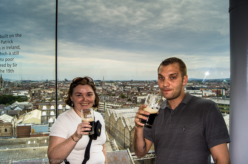 Enjoying a Guinness at the Gravity Bar
