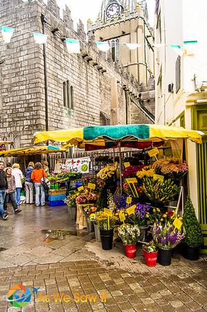 Pedestrian flower market in Galway Ireland