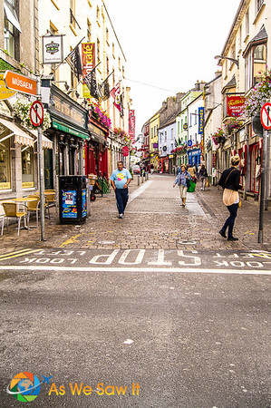 Pedestrian street in central Galway Ireland