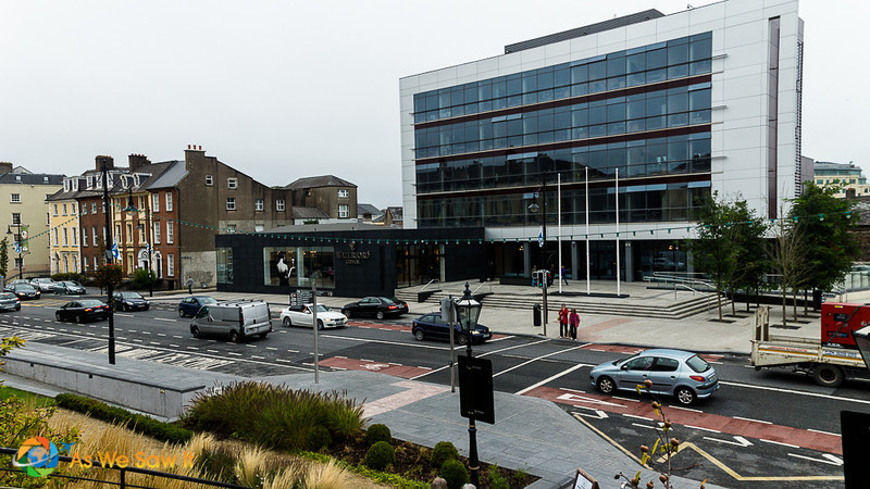 Waterford crystal showroom in front, factory in back.