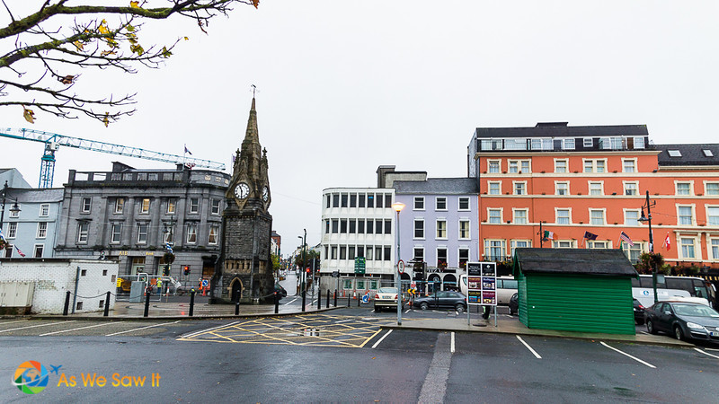 Waterfront of Waterford City Viking Triangle, including clock tower and Granville Hotel.