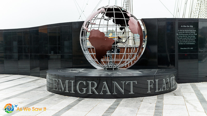 The eternal flame outside the Irish Emigrant Experience museum