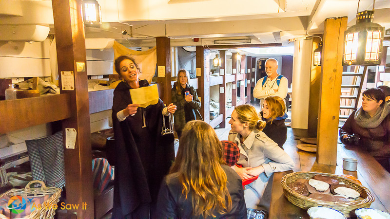 Costumed actors on the Dunbrody ship tell about their experience onboard on their way to America