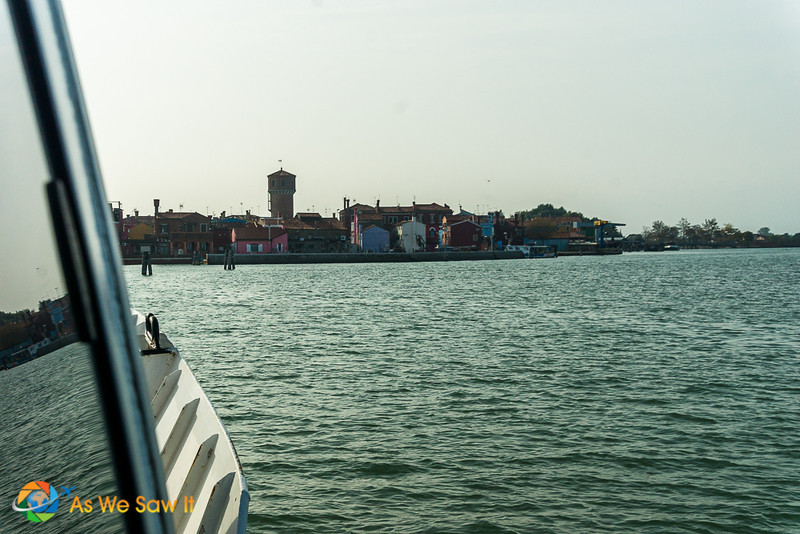 approaching Burano island by vaporetto