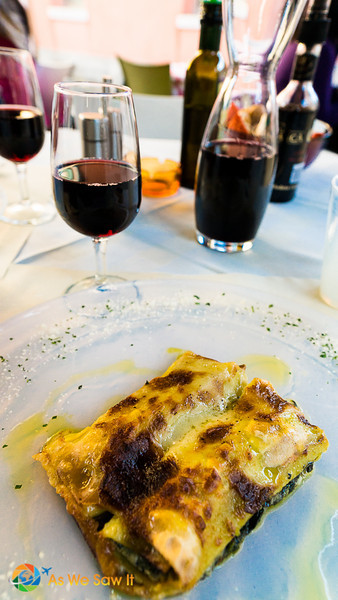 red wine and the house meat lasagne in Murano