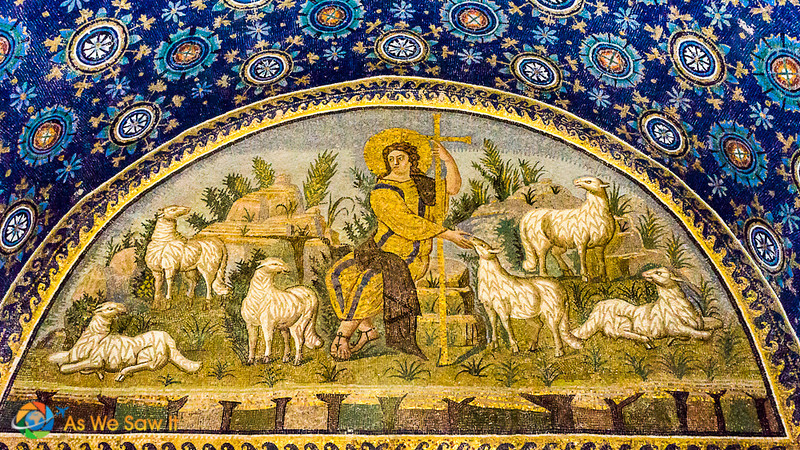 Jesus seated as an emperor with lambs nearby