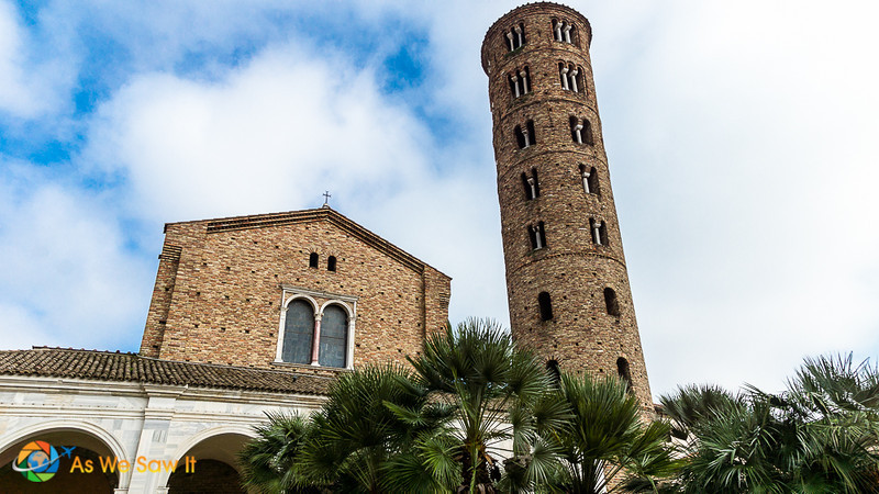 Exterior of Basilica of Sant'Apollinare Nuovo, showing the leaning tower.