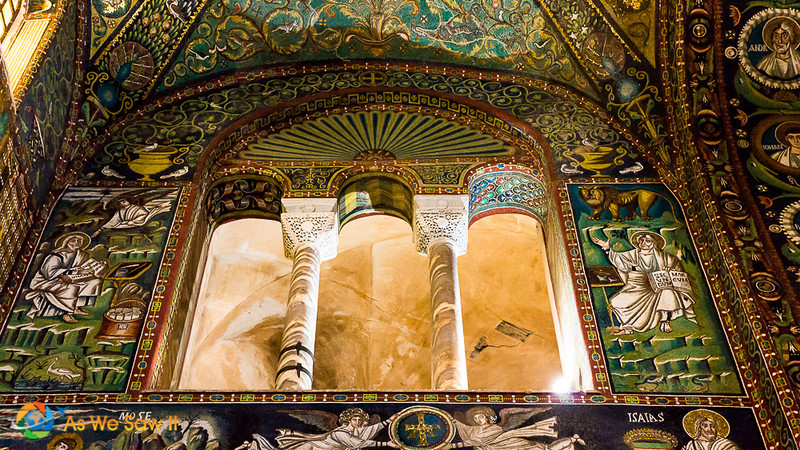 Mosaics cover the walls and ceilings in the Church of San Vitale, Ravenna