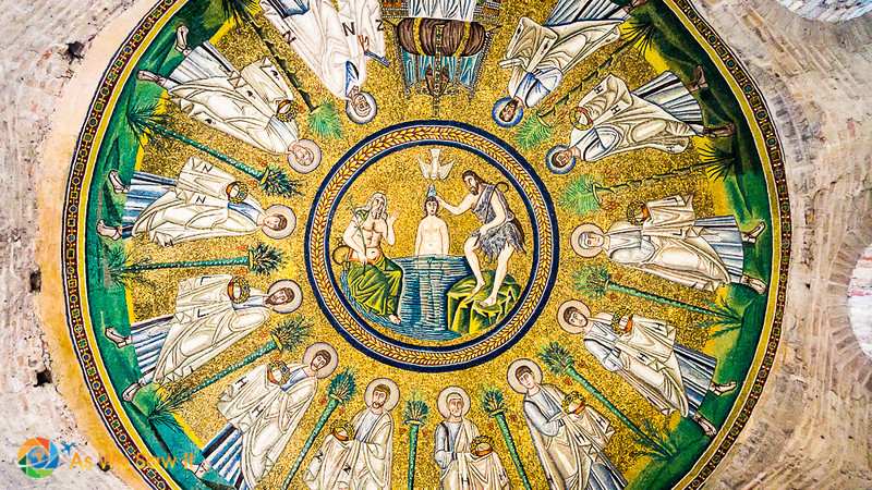 Domed ceiling with mosaics of Jesus being baptized at the center, as well as the 12 apostles around the central image.