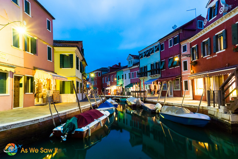 twilight along a Burano canal makes the brilliant house colors pop