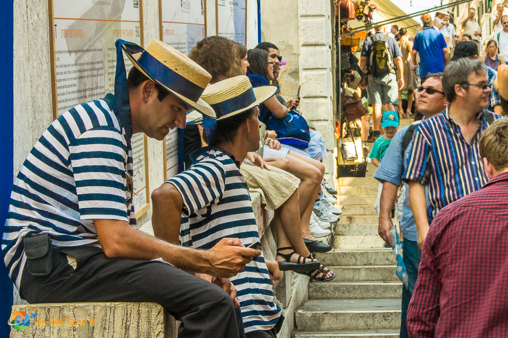 Gondolier's at rest in Venice, Italy
