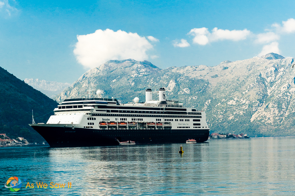 Holland America Rotterdam docked in the picturesque Bay of Kotor, Montenegro