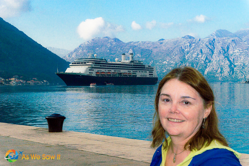 Linda in Kotor with ship in background