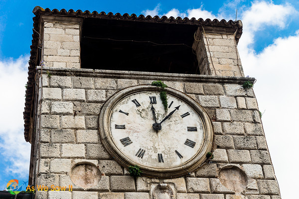 Tower clock in Kotor, Montenegro