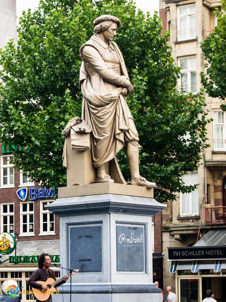 A statue of Rembrandt overlooks Amsterdam's Rembrandtplein