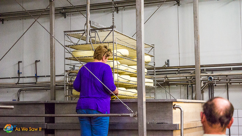 Woman in front of a rack of cheese wheels that are being cured