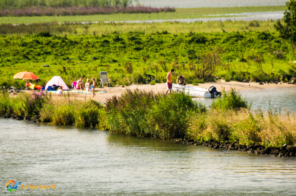 Family camping along the Rhine in Netherlands