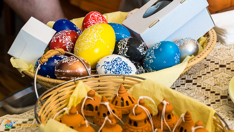 basket of decorated Easter eggs