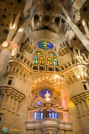 The stunning interior of Sagrada Familia, Barcelona, Spain