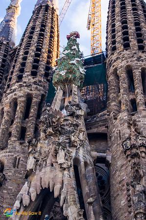 Gaudi's Sagrada Familia cathedral even has a Christmas tree!