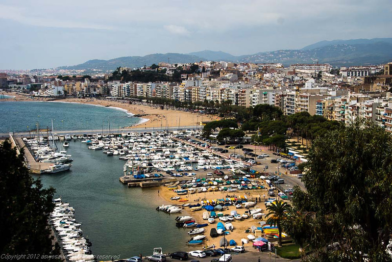 View of marina and beach in Blanes, Costa Brava