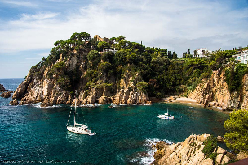 two sailboats on Spain's costa brava