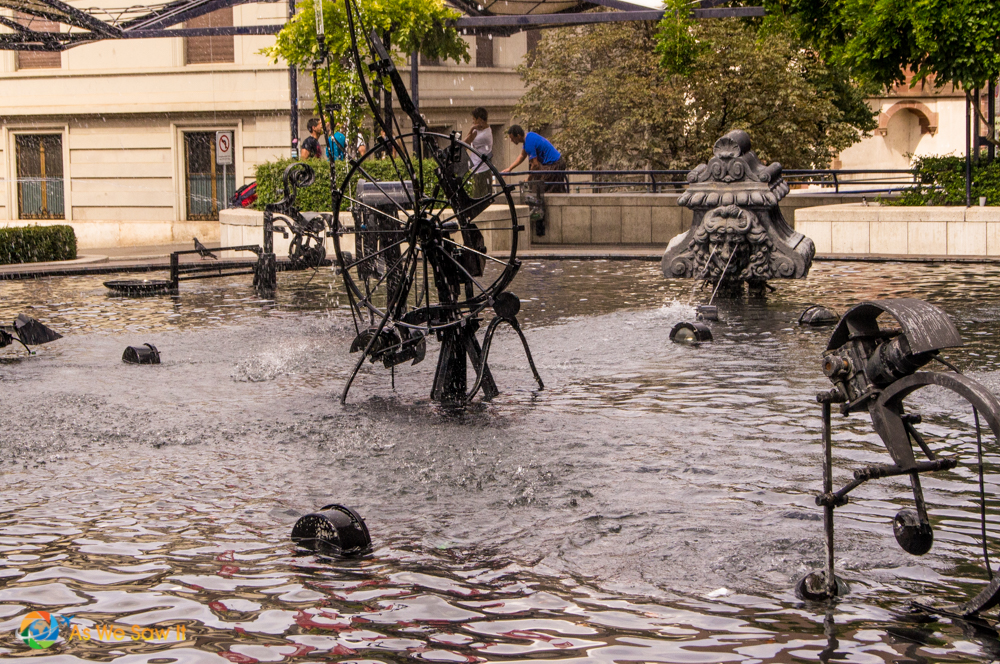 Modern art sculptures in the Stravinsky Fountain, Basel.