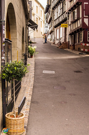 Up the hill street view in Basel, Switzerland.