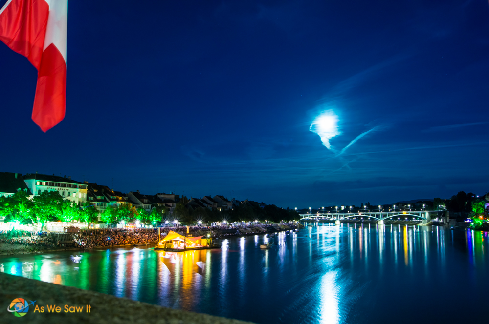 Full moon over Basel, Switzerland.