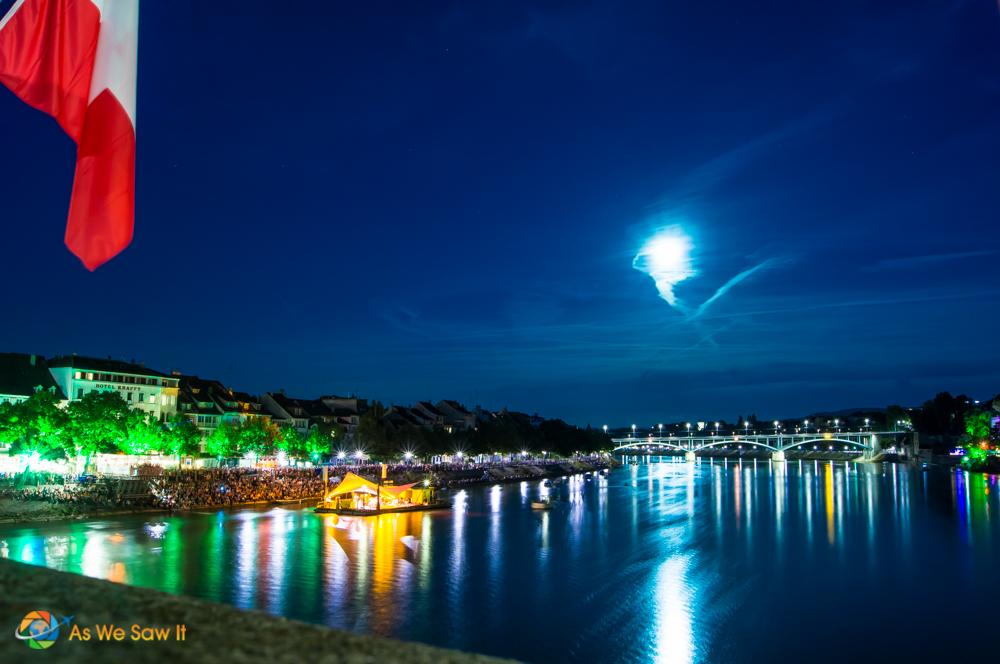 Full moon over Basel, Switzerland.