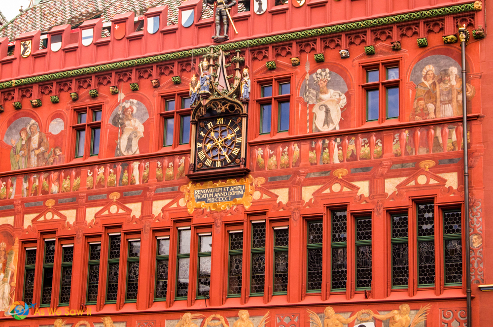 The clock on Basel City Hall.