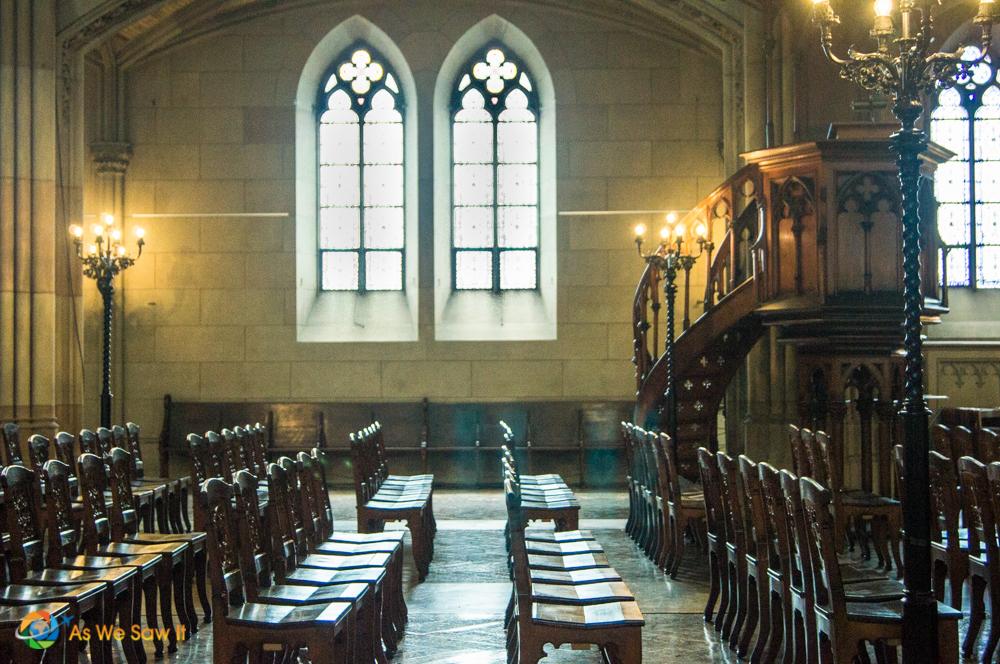 Congregation seating inside Elizabeth Church, Basel