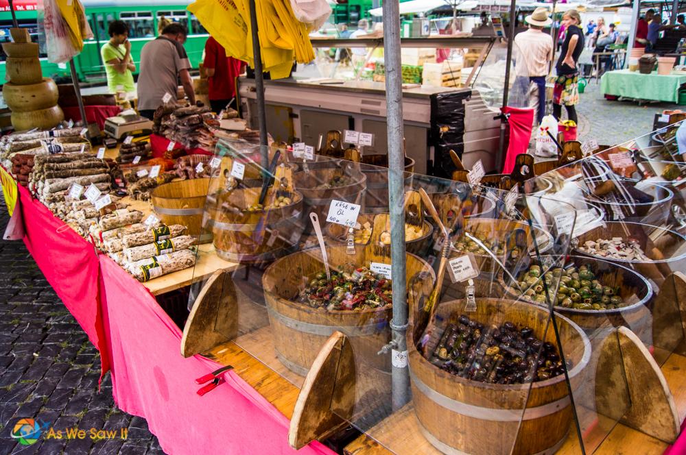 Vendor booth in Marktplatz, Basel.