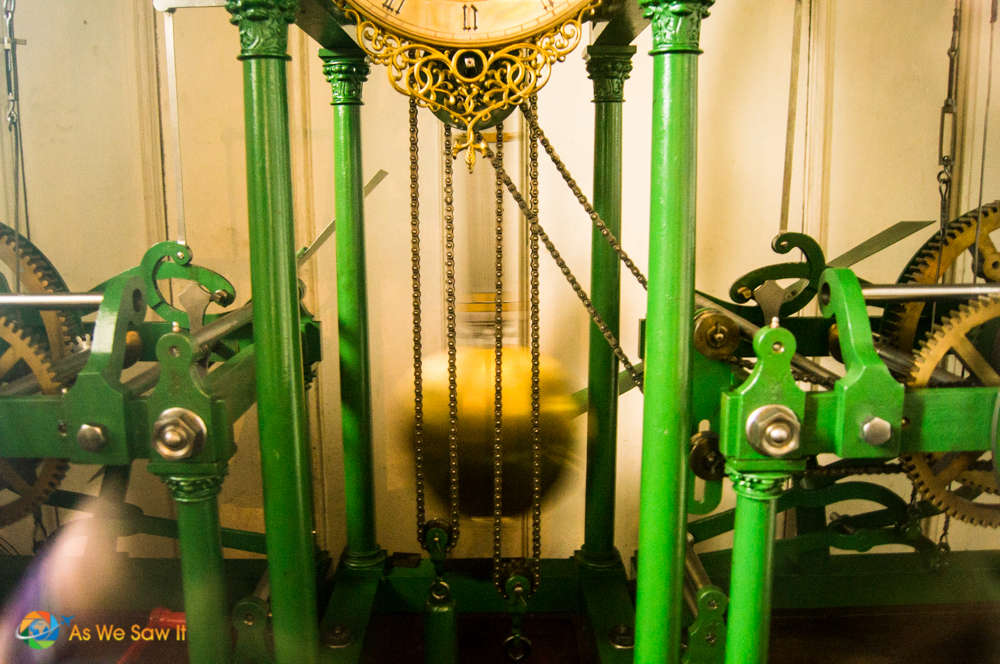 Clock mechanics in the tower at Elizabath Church, Basel, Switzerland