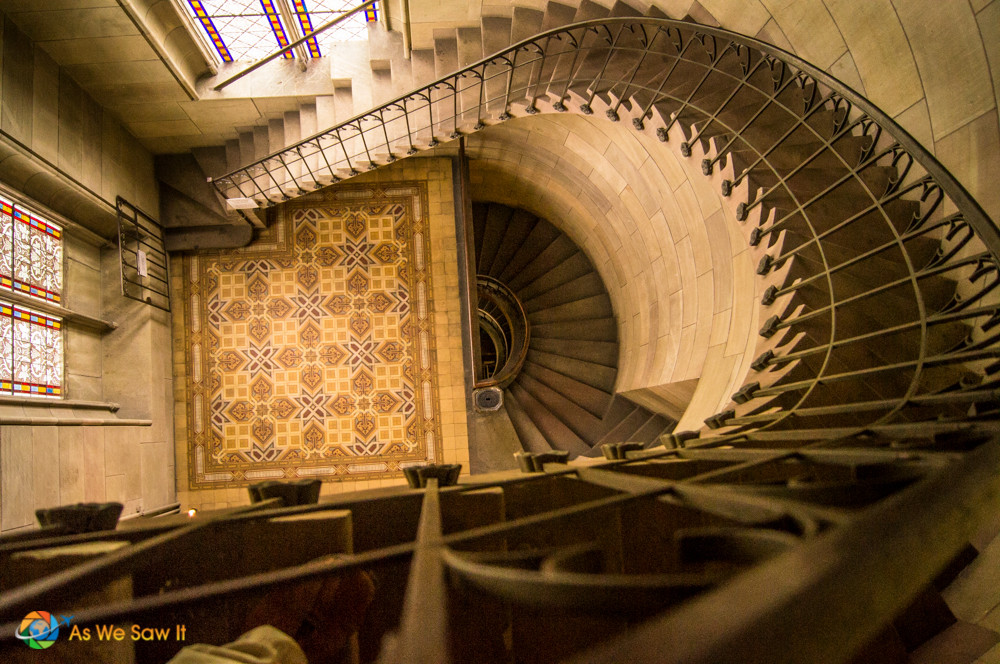 Winding stairway down from the clock tower in Elizabeth Church, Basel