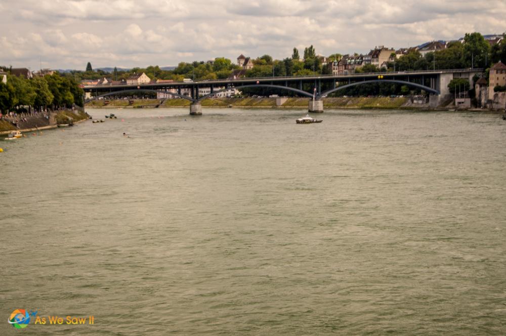 Rhine River swimmers in Basel Switzerland.