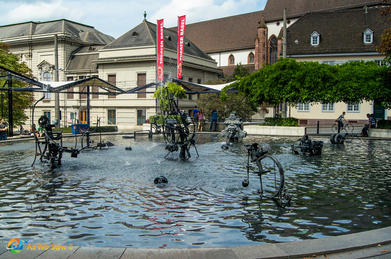 Collection of moving metal sculptures in Tinguely Fountain in Basel