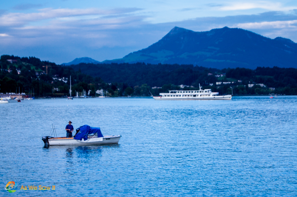 Fisherman on Lake Lucerne