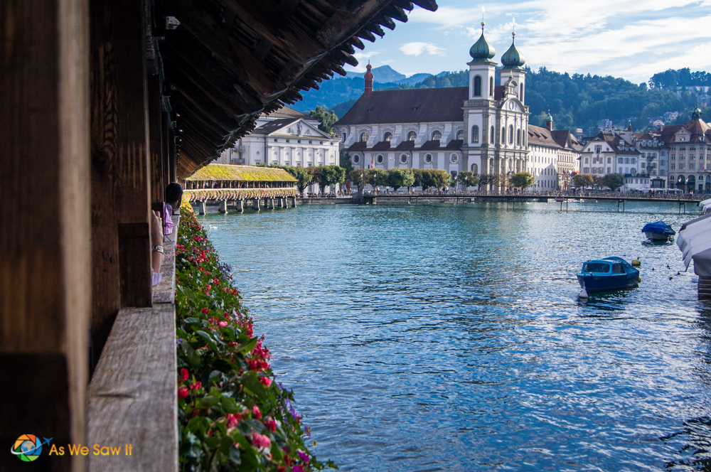 View of Lucerne from its medieval bridge
