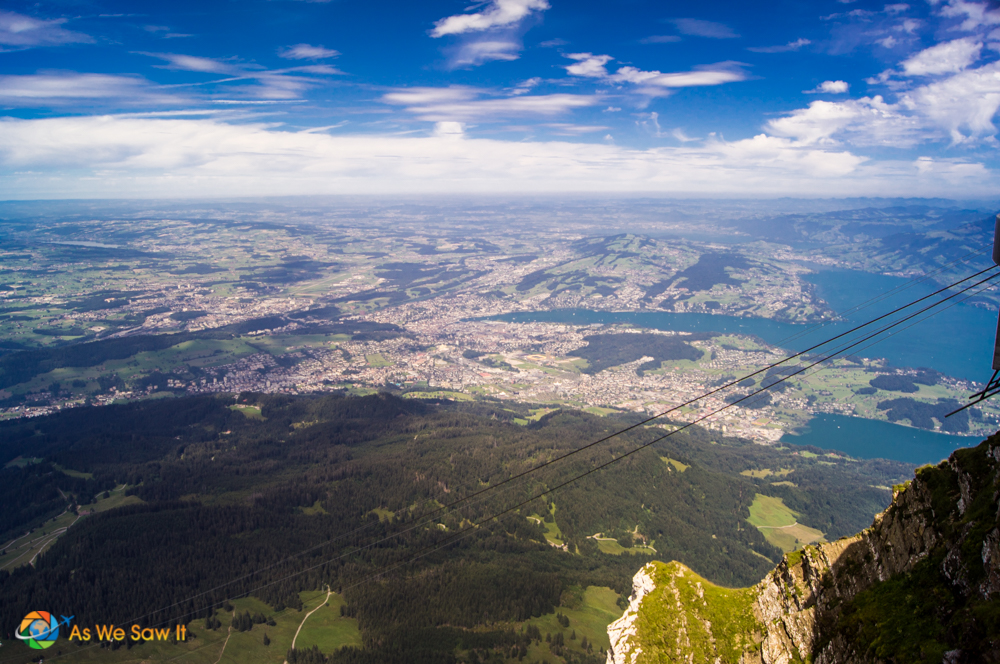View of Lake Lucerne and the city of Lucerne from Mount Pilatus.