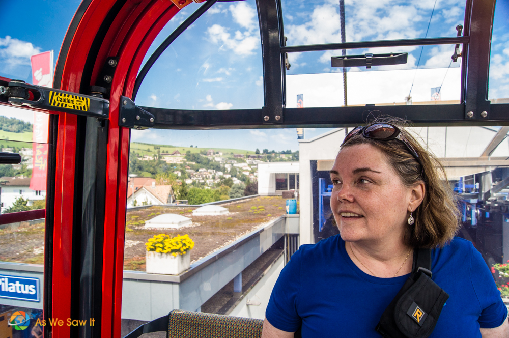 Linda enjoying the spectacular views from the gondola.
